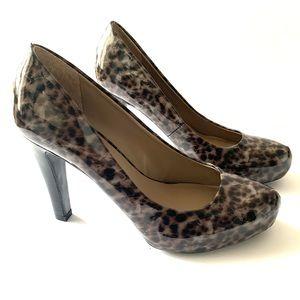 Franco Sarto Patent Leather Leopard print pumps